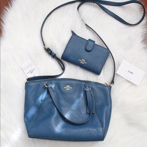 COACH NWT blue crossbody purse + wallet
